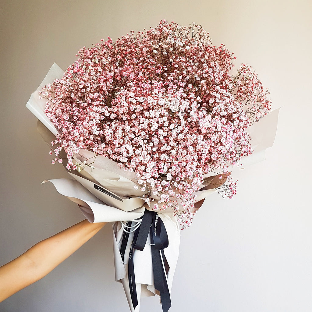 Pink baby's breath bouquet - Lou Flower Studio