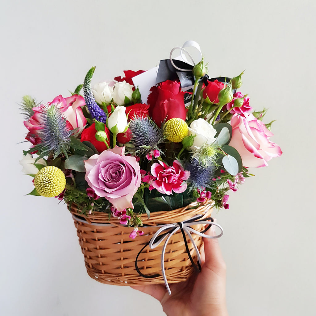 Petite basket arrangement - Lou Flower Studio