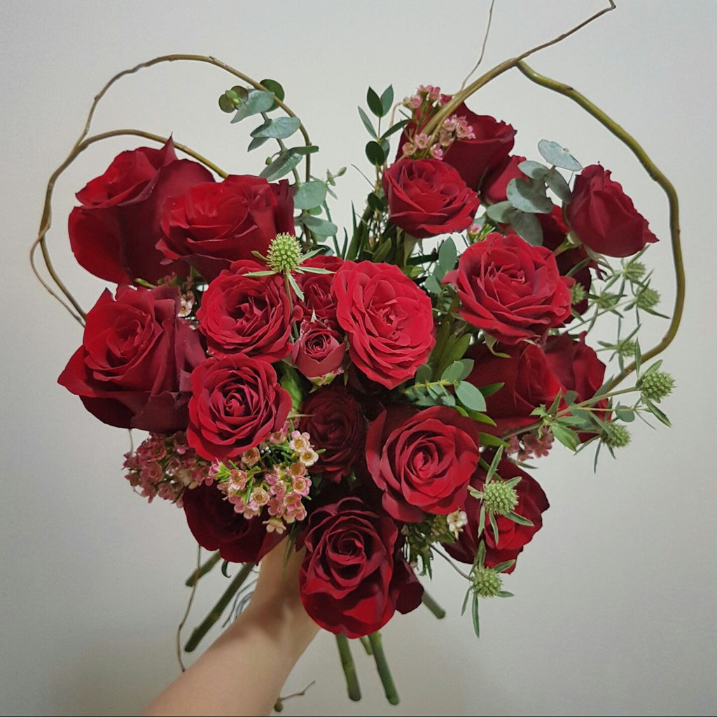 V-Day Special - Heart Shaped Roses bouquet - Lou Flower Studio