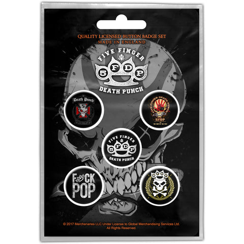 FIVE FINGER DEATH PUNCH BUTTON BADGE PACK: LOGOS