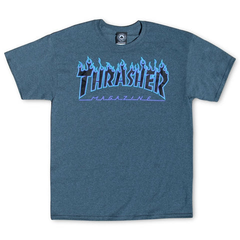 THRASHER (FLAME LOGO) T-SHIRT DARK HEATHER