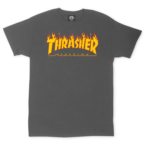 THRASHER (FLAME LOGO) T-SHIRT CHARCOAL