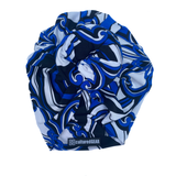 Akoben Nubian Satin(TM) Bun Wrap - Blue & White