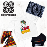 Image showing hair love shirt, akoben nubian terry wrap and culturedgear protective face mask