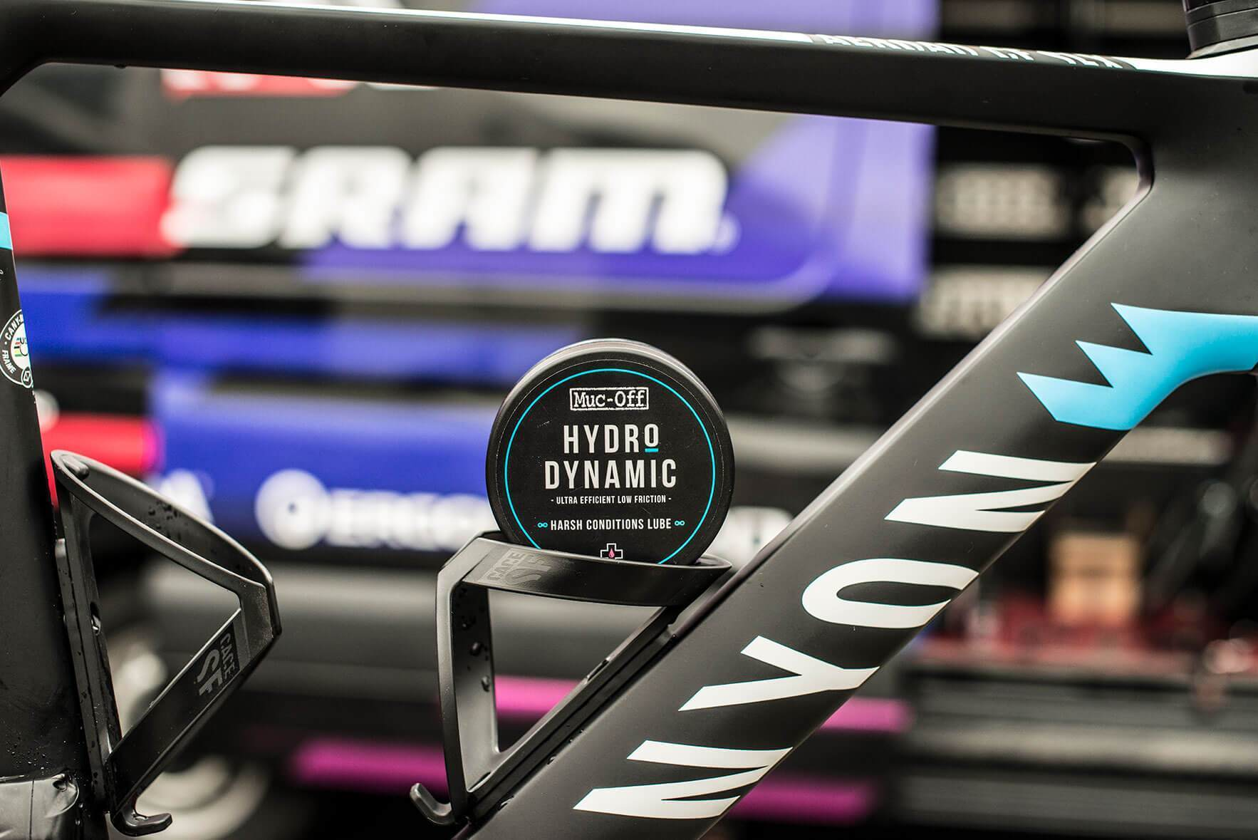 Harsh Conditions Lube placed in bottle cage on bike