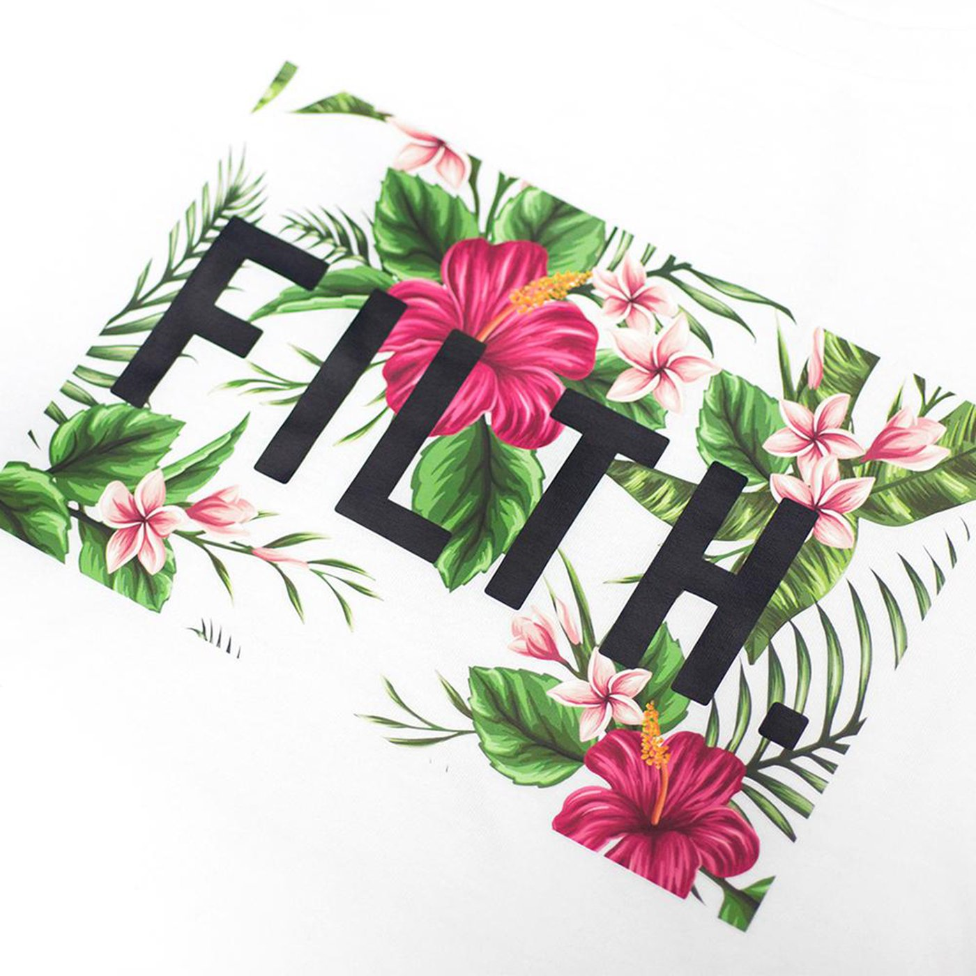 Close up of the flowery Aloha Filth logo