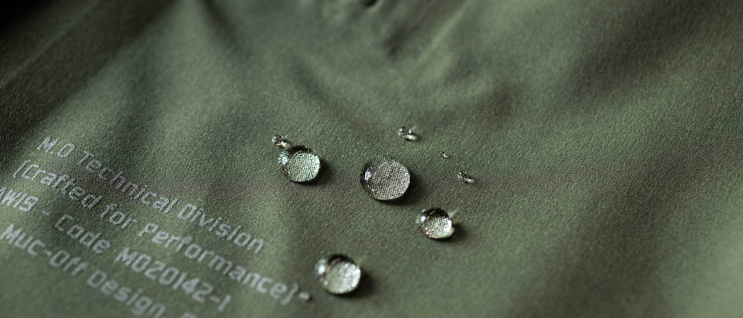 Water droplets on the material which is hydrophobic