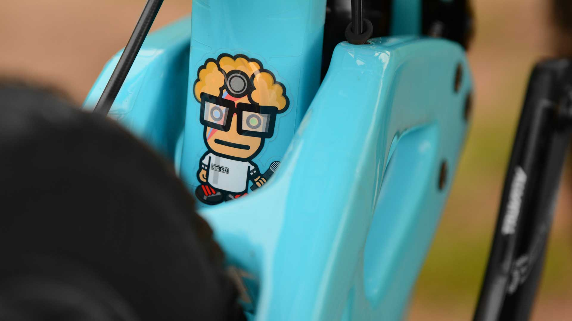 Professor cartoon sticker on bike frame
