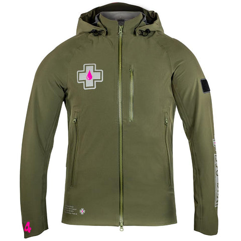 Front view of Polartech green technical riders jacket on a white background