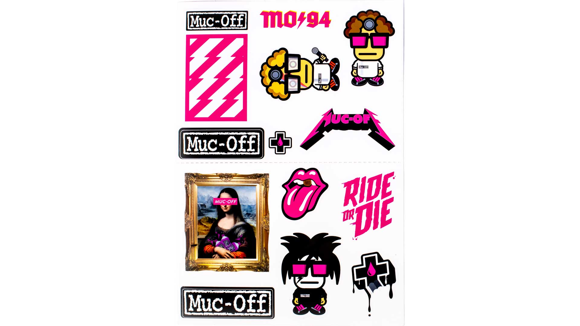 Muc-off sticker sheet on white background