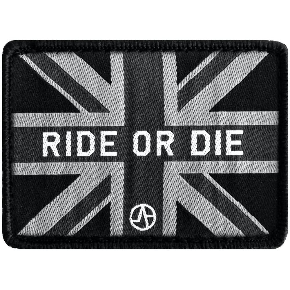 Ride or die union jack flag patch up close