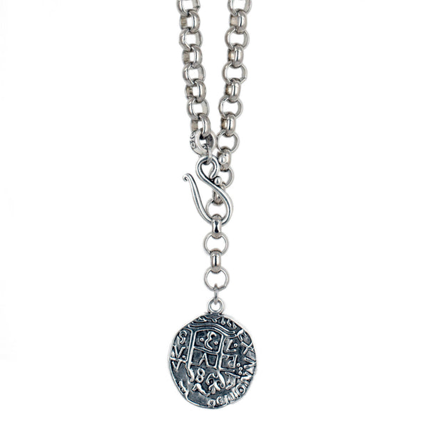 Chunky Silver Coin Necklace