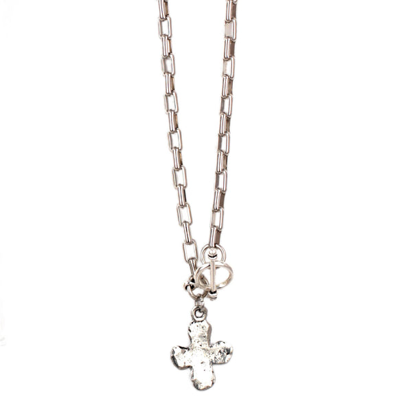 Petite Silver Hammered Cross Necklace