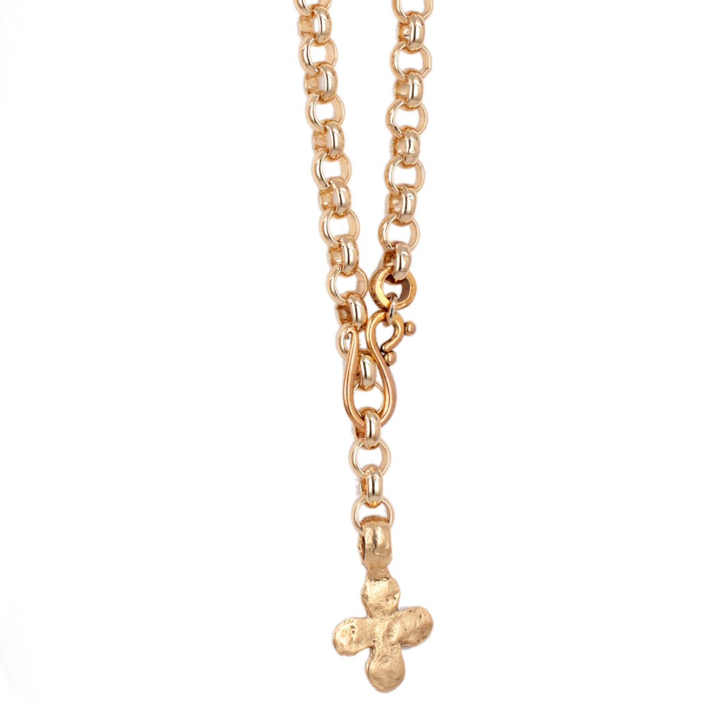 Chunky Gold Hammered Cross Necklace