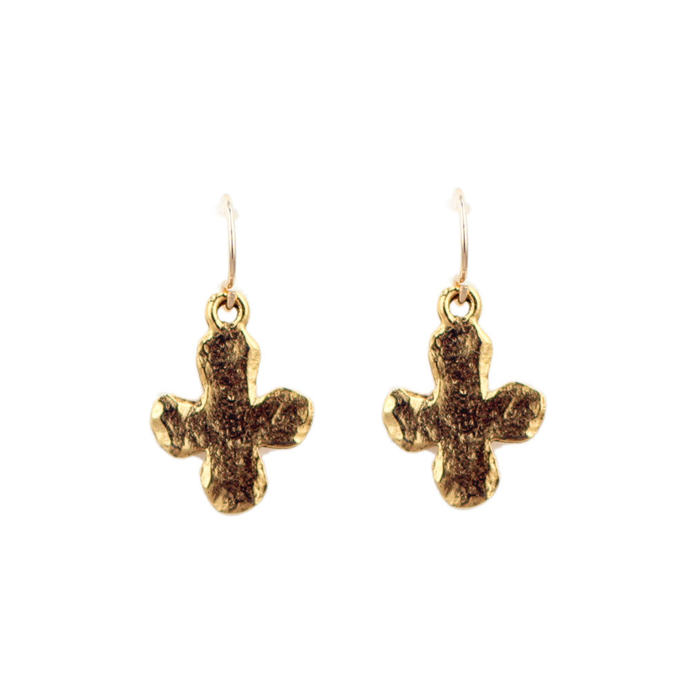 Gold Hammered Cross Charm Earrings