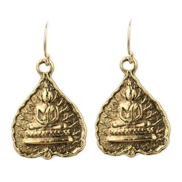 Gold Buddha Charm Earrings