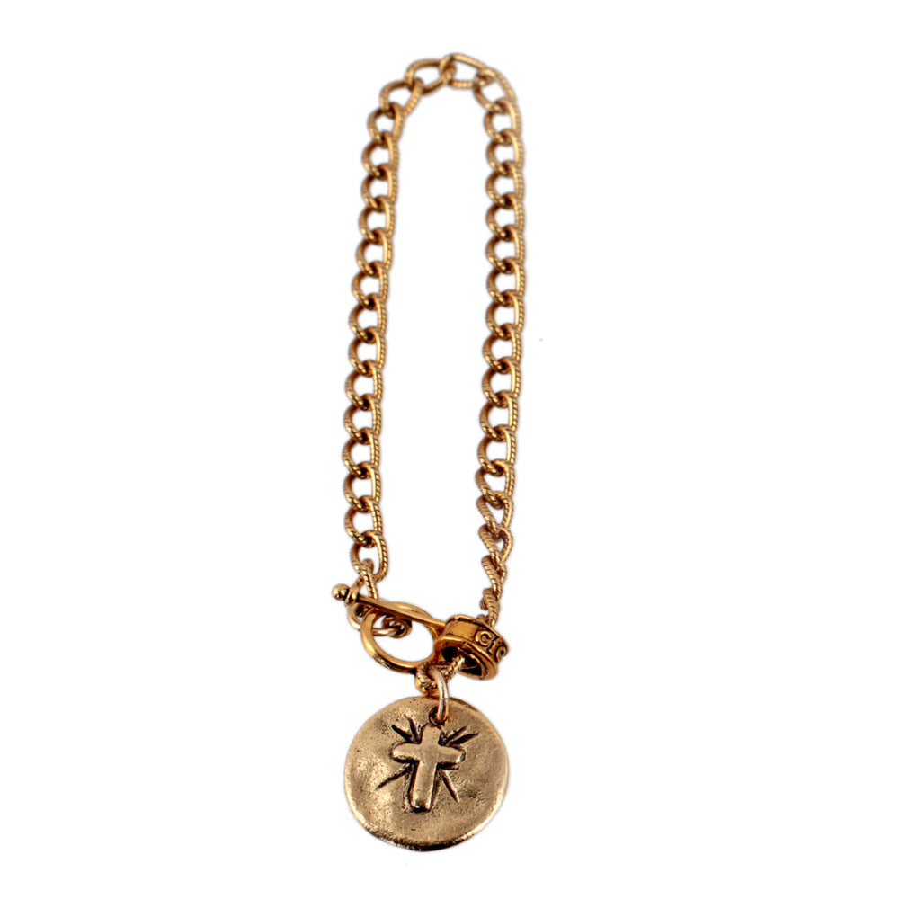 Petite Gold Disc with Cross Bracelet