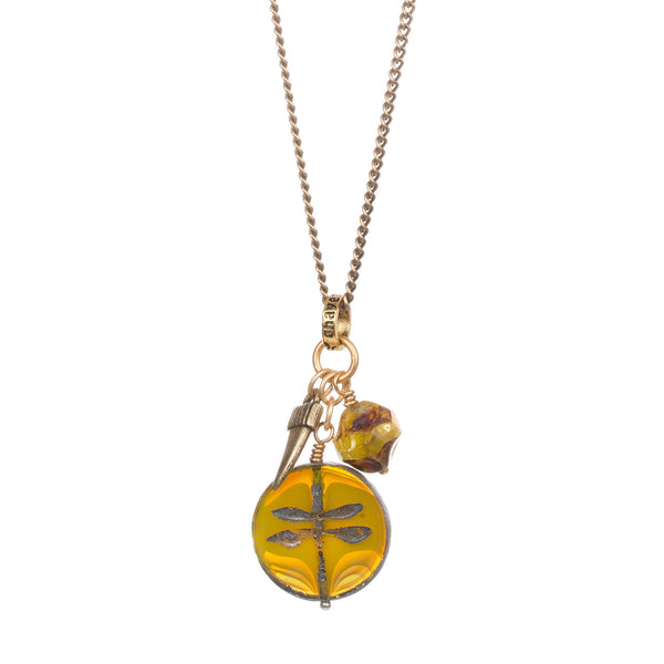 Yellow Dragonfly Necklace