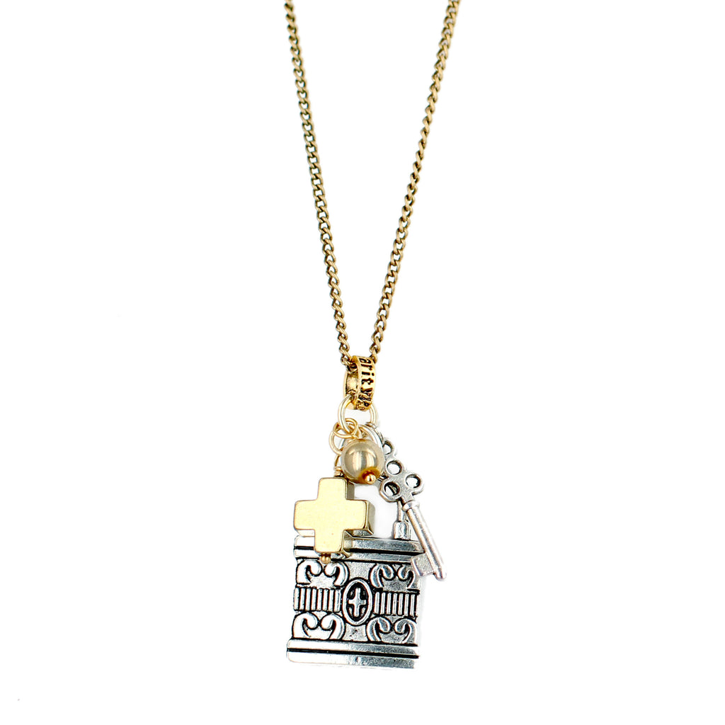 Gold Mixed Metal Lock Necklace