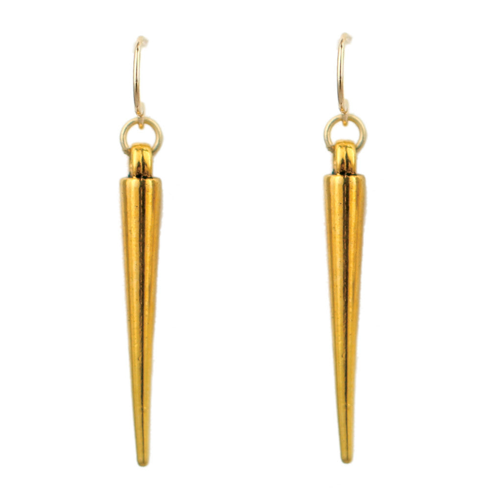 Gold Spike Charm Earrings