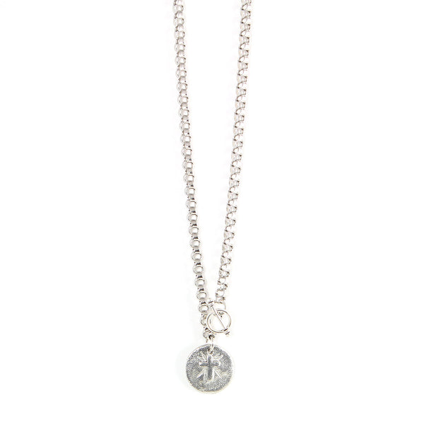 Petite Silver Cross Coin Necklace