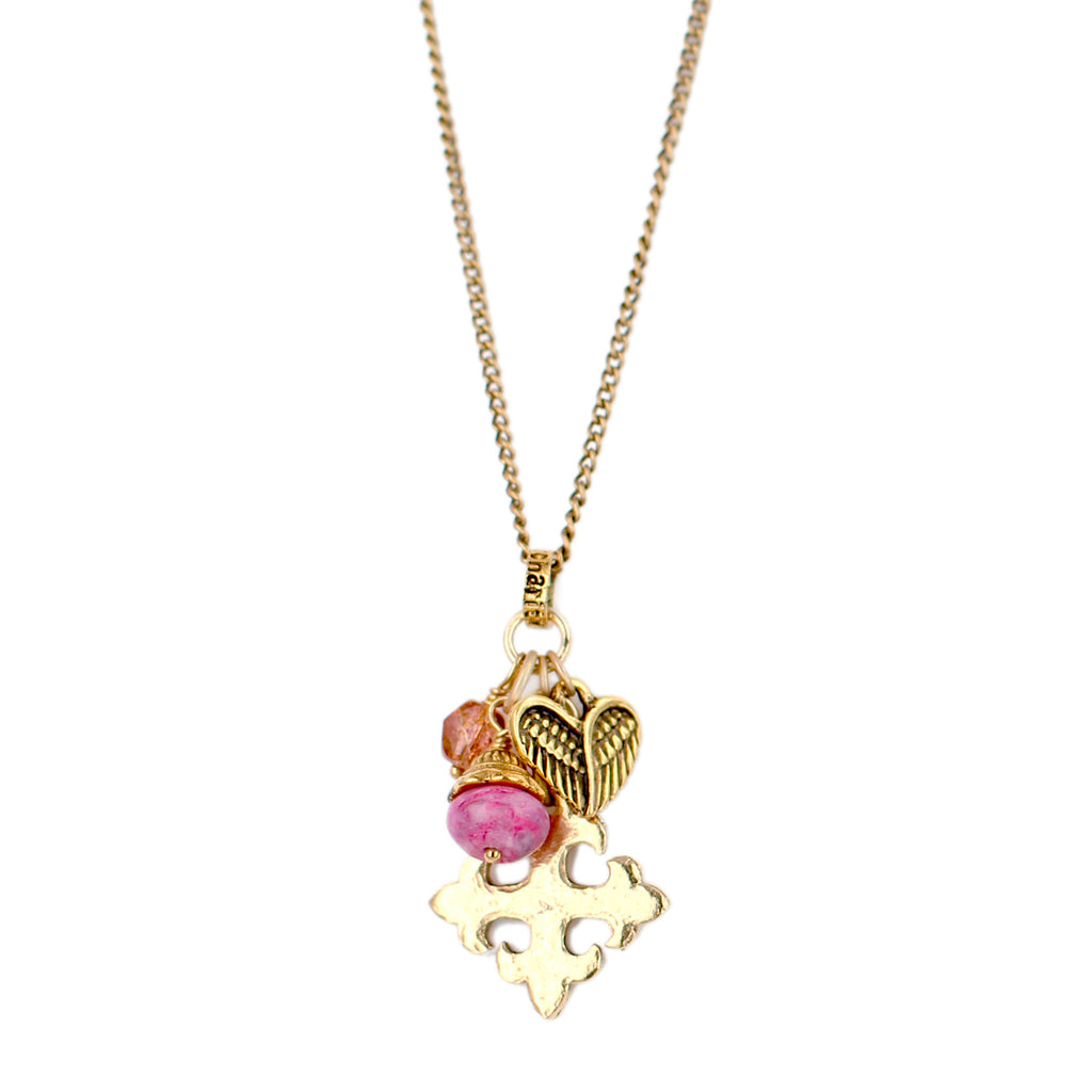 Pink Cross My Heart Necklace