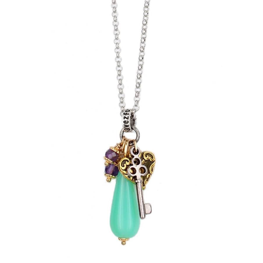 "Purple and Teal ""Key to My Heart"" Necklace"