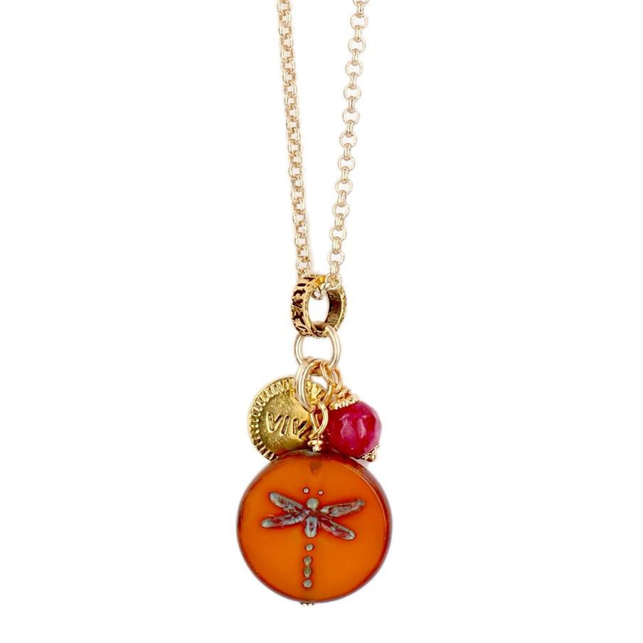 Orange and Pink Dragonfly Necklace