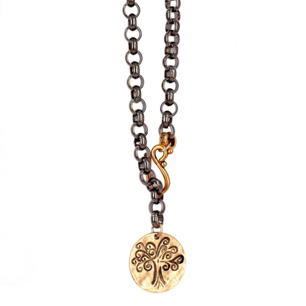 "Chunky Mixed Metal ""Tree of Life"" Necklace"