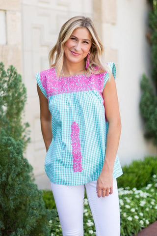 Gingham embroidered top by J Marie Collection