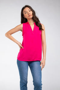 Sleeveless Mandarin Collar Top - Tres Chic Houston