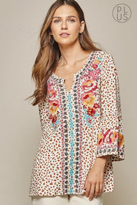 Cream Leopard Notch Neck Top