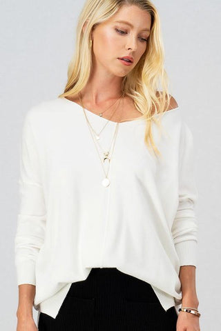 Cozy V-Neck Sweater in Neutrals - Tres Chic Houston
