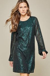 Emerald Sequin Dress - Tres Chic Houston