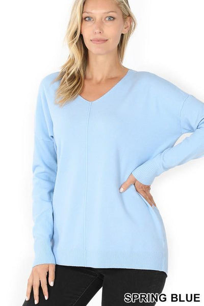 V-Neck Front Seam Sweater