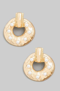 Pearl Encrusted Donut Earrings - Tres Chic Houston