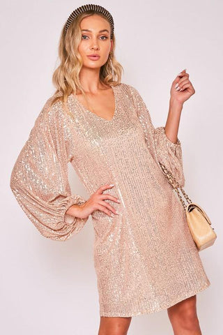 Rose Gold V-Neck Sequin Dress