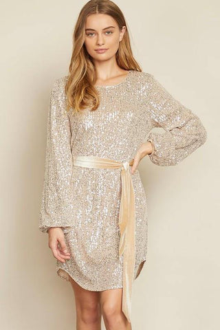 Sequin Bubble Dress with Velvet Belt