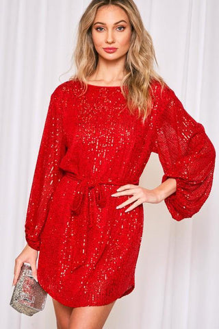 Red Sequin Belted Dress