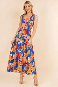 Multi-colored Floral Maxi Dress