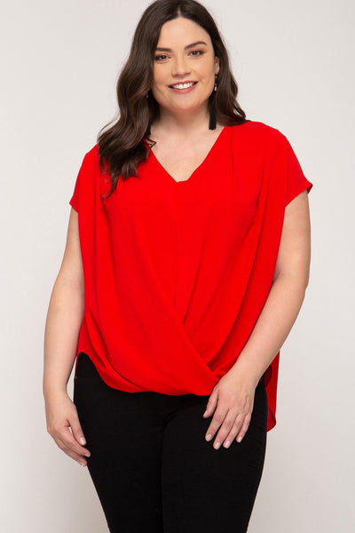 Cap Sleeved Criss-Cross Top - Tres Chic Houston