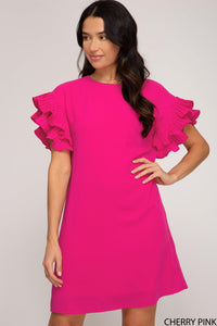 Pleat Detailed Dress in Cherry Pink - Tres Chic Houston