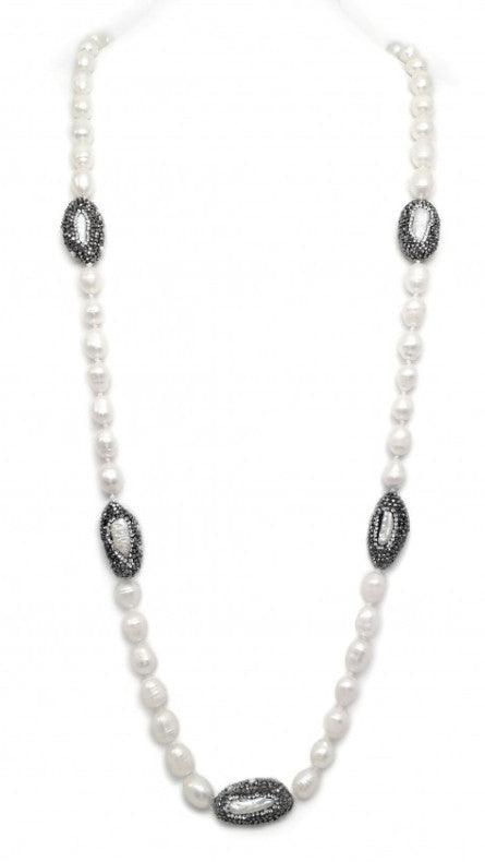 Freshwater Baroque Pearl Necklace w/Crystal Stations (More Colors)