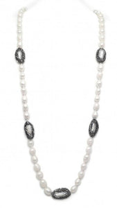 Freshwater Baroque Pearl Necklace w/Crystal Stations (More Colors) - Tres Chic Houston