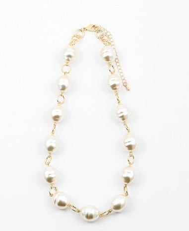 "18"" Large Pearl Stations on Gold Chain Necklace (More Colors)"