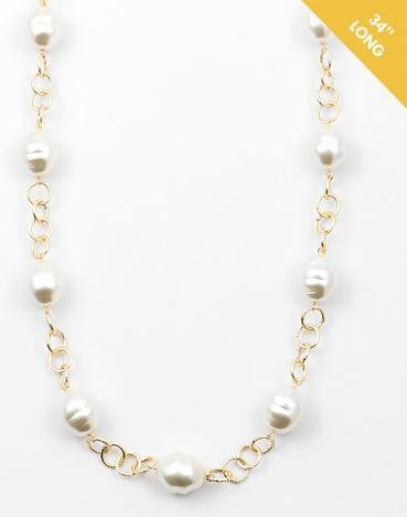 "34"" Large Pearl Stations on Gold Chain Necklace (More Colors)"