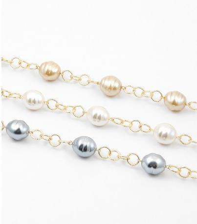 "34"" Large Pearl Stations on Gold Chain Necklace (More Colors) - Tres Chic Houston"