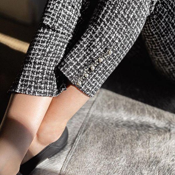 Faux Tweed Pearl Detail Pants - Tres Chic Houston