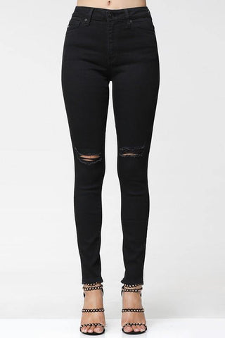 Black Fringe Distressed Jeans - Tres Chic Houston
