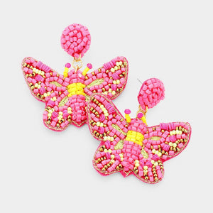 Beaded Butterfly Earrings - Tres Chic Houston